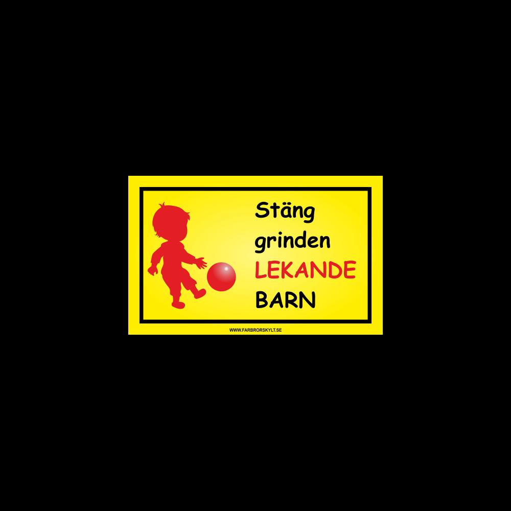 """Skylt """"Stäng Grinden, Lekande Barn"""" Pojke med Fotboll"""