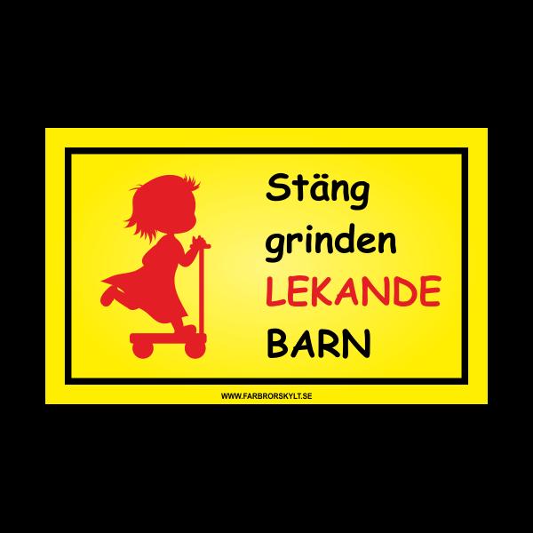 """Skylt """"Stäng Grinden, Lekande Barn"""" Flicka på Sparkcykel"""