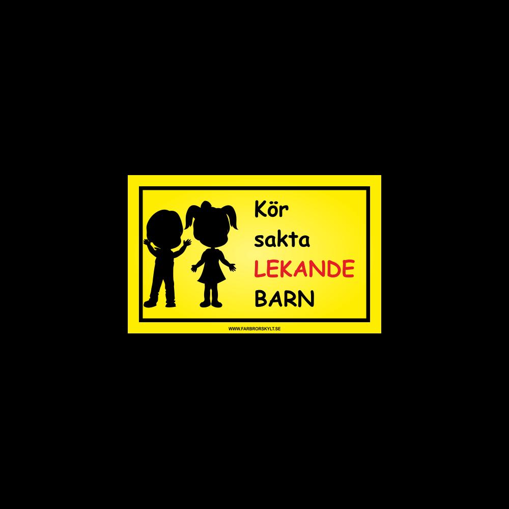 """Skylt """"Kör Sakta, Lekande Barn"""" Pojke och Flicka Svart"""