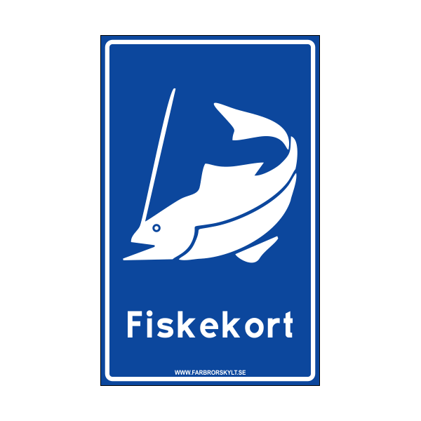 "Skylt ""Fiskekort"" Blå"