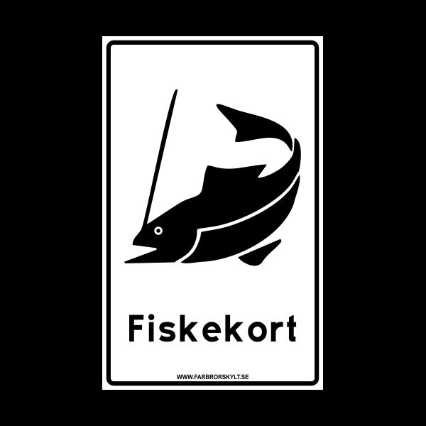 """Skylt """"Fiskekort"""" Vit"""