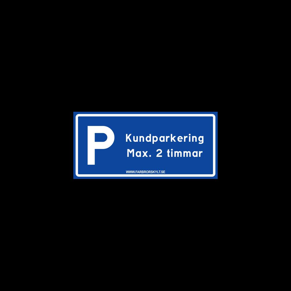 """Skylt """"Kundparkering"""" Blå 30x14cm"""