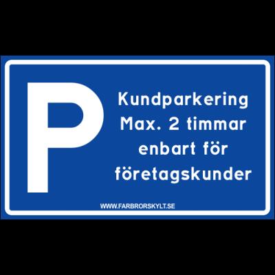 """Skylt """"Kundparkering"""" Blå 30x18cm"""