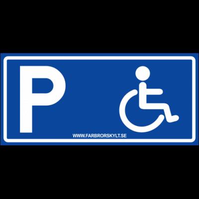 """Skylt """"Handikapparkering"""" Blå 30x14cm"""
