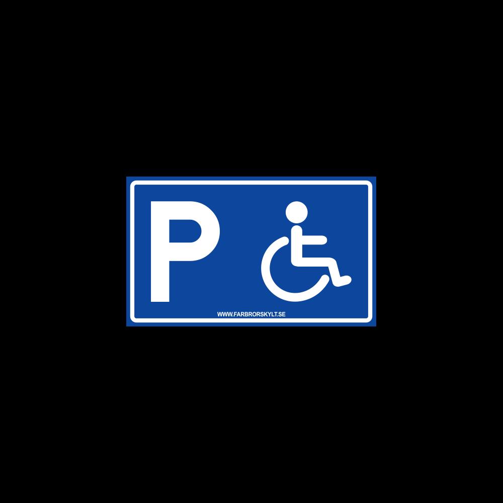 """Skylt """"Handikapparkering"""" Blå 25x40cm"""