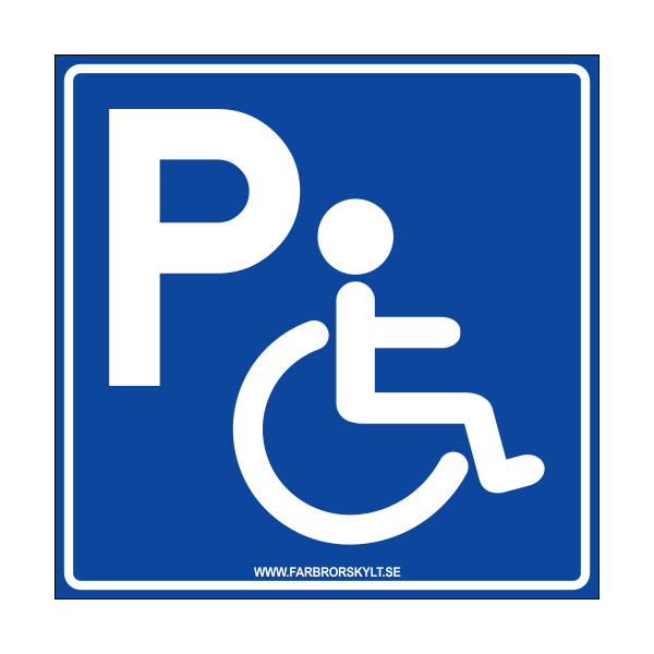 """Skylt """"Handikapparkering"""" Blå 30x30cm"""