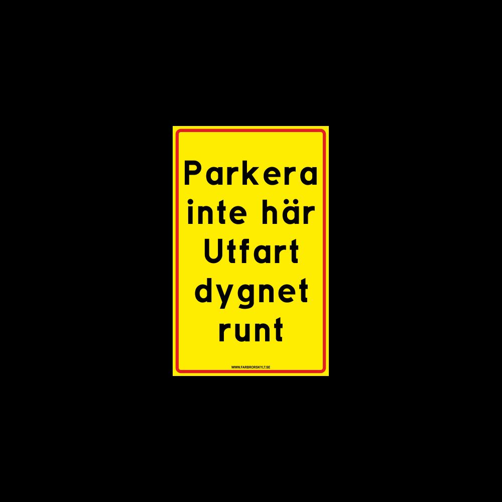 """Skylt """"Parkera inte här"""" 25x40cm"""