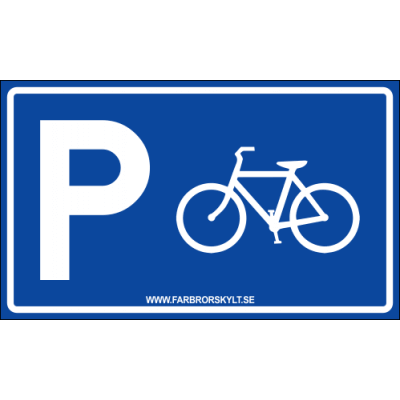 "Skylt ""Cykelparkering"" Blå 30x18cm"