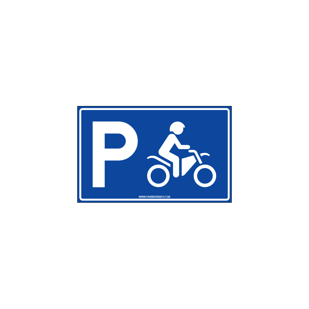 """Skylt """"Motorcykelparkering"""" Blå 40x25cm"""