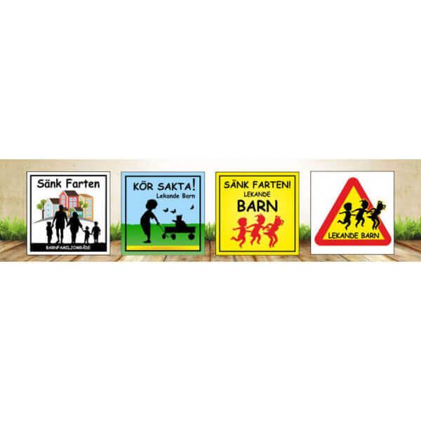 Lekande barn skyltar i olika design från Farbror Skylt
