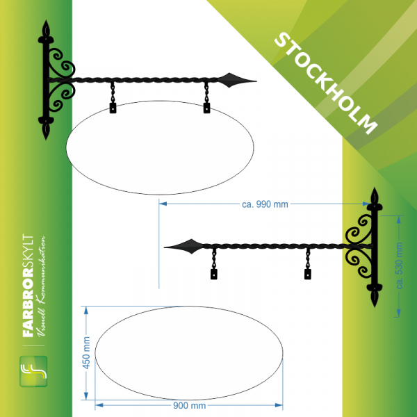 "Oval skyltform hos smidesskylt ""Stockholm"" large  från Farbror Skylt."