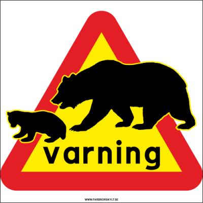 Varningsskylt med varningstriangel och björnar. Farbror Skylt.