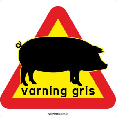 Varningsskylt med gris och varningsfärgerna gult och rött.