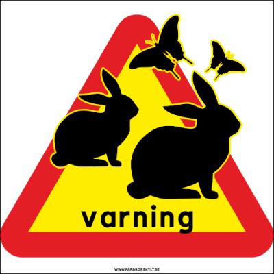 Två harar och fjärilar i svart mot en bakgrund av varningstriangel i gult och rött. Farbror Skylt.