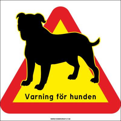 """Varningsskylt """"Varning för Hunden"""" Bulldog 50 x 50 cm hållbar aluminium. Farbror Skylt."""