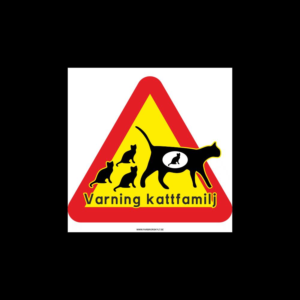 """Plåtskylt """"Varning Kattfamilj"""" från Farbror Skylt"""