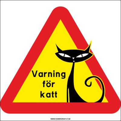 """Skylt """"Varning för Katt"""" Siames"""