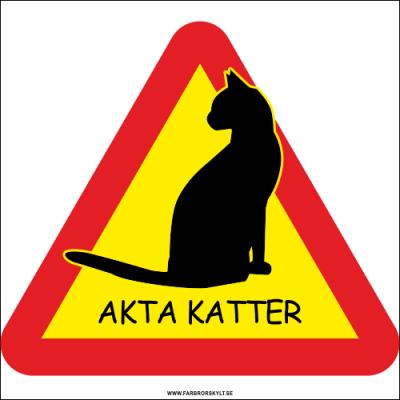 """Skylt """"Akta Katter"""" 2 visar en stilig och lite nonchalant katt i svart siluett. Från Farbror Skylt."""