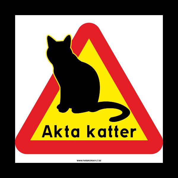 """Plåtskylt """"Akta Katter"""" från Farbror Skylt"""