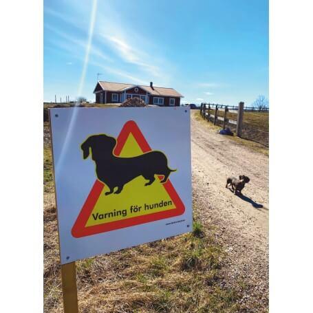 Skylt Varning för Hunden Tax 50x50cm